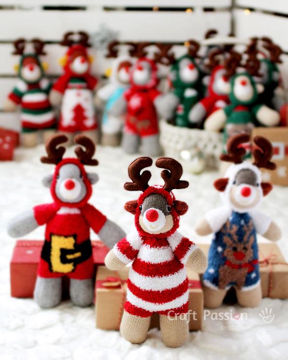 sew rudolph reindeer doll