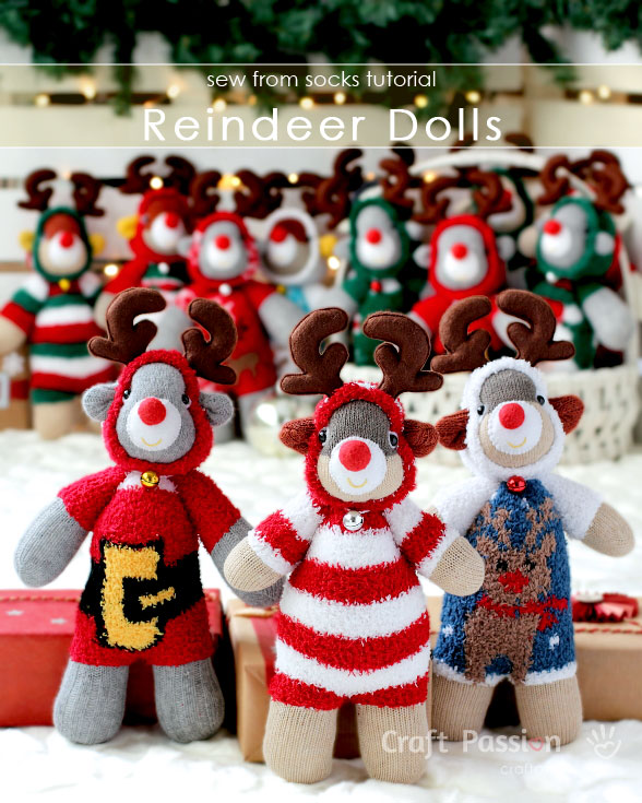 Sock Reindeer Doll - Free Pattern & Tutorial | Craft Passion