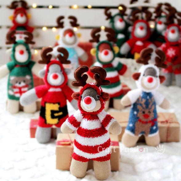 sew Rudolph sock reindeer toy