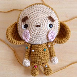 monkey amigurumi attach body and limbs