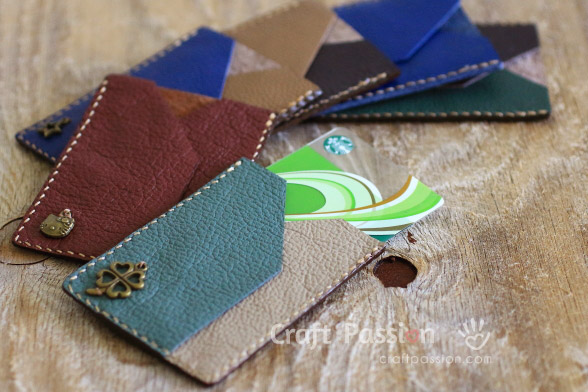 sew leather card sleeve