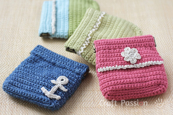 crochet flex frame coin purse
