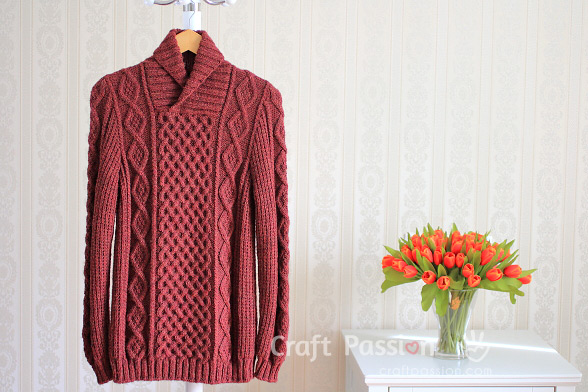 Shawl Collar Cable Pullover Knit Pattern
