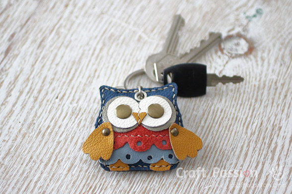 leather owl charm