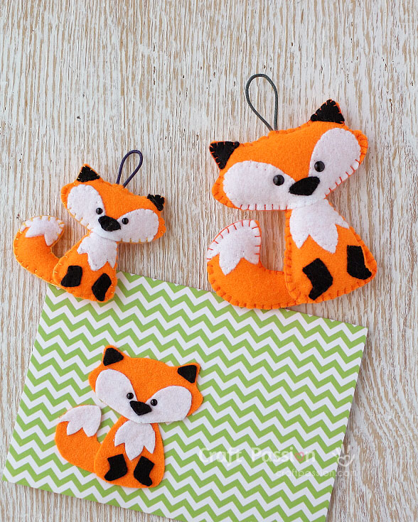 fox felt ornaments