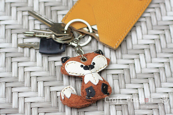 fox leather keychain charm