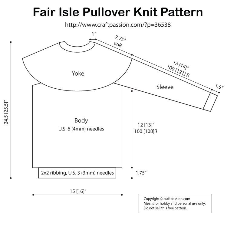 Fair Isle Pullover Children Size Free Knitting Pattern Craft