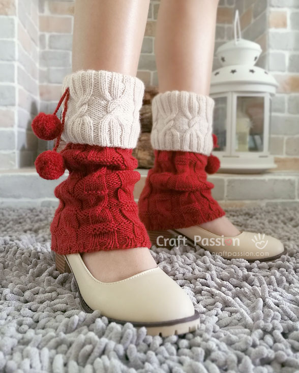 knit ms santa leg warmers