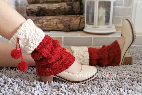 red white cuff leg warmers