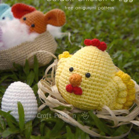 Golden Chicken Amigurumi & Egg Amigurumi