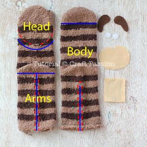 sock sloth tutorial 2