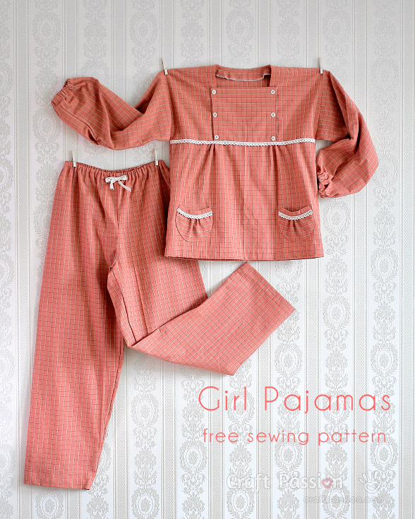 Girl Pajamas 5 To 12 Years Old Free Sewing Pattern Craft Passion