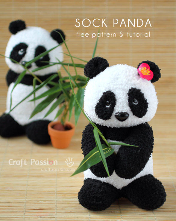 Sock Panda Plushie Free Sewing Pattern Tutorial Craft Passion