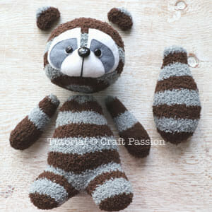 sewing sock raccoon