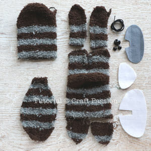 raccoon sew from sock