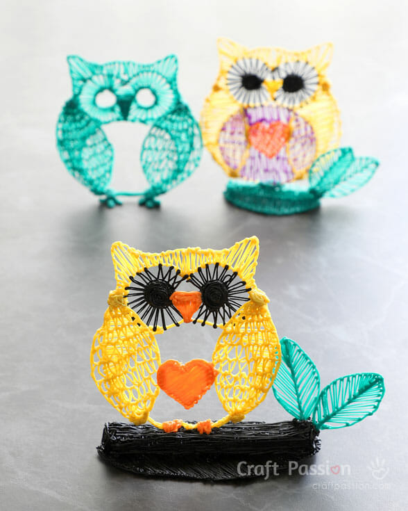 3D Pen Owl Drawing - With Video & Free Template