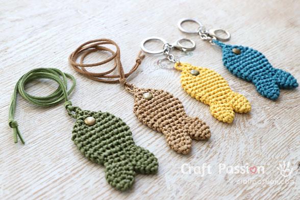 crochet fish charm
