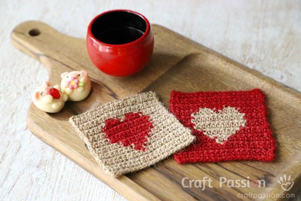 heart coasters crochet pattern
