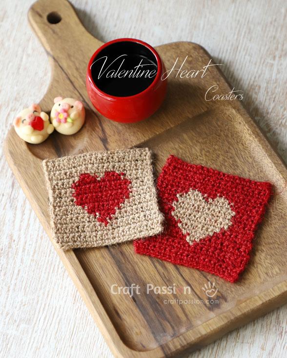 crochet heart coasters