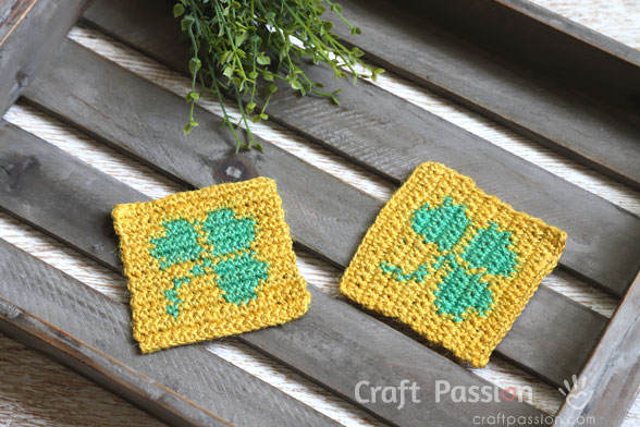 Crochet Shamrock Coasters