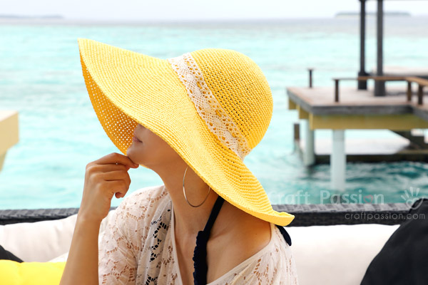 Crochet Wide Brim Beach Hat