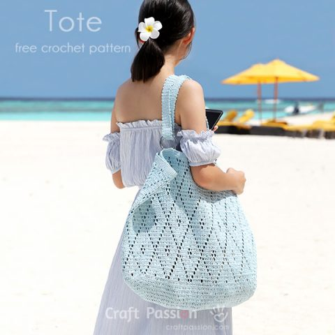 Crochet Diamond Stitch Oversized Tote