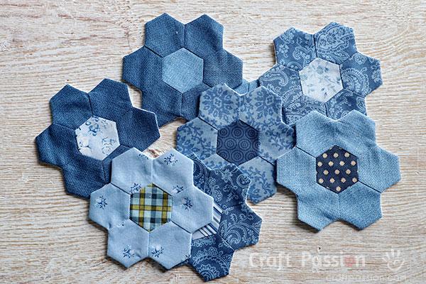 quick hexagon quilt block in flower shape