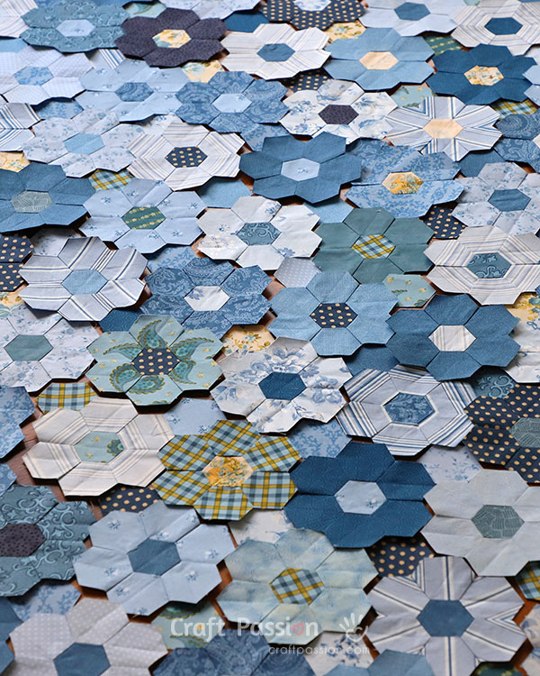 hexagon piecing with machine