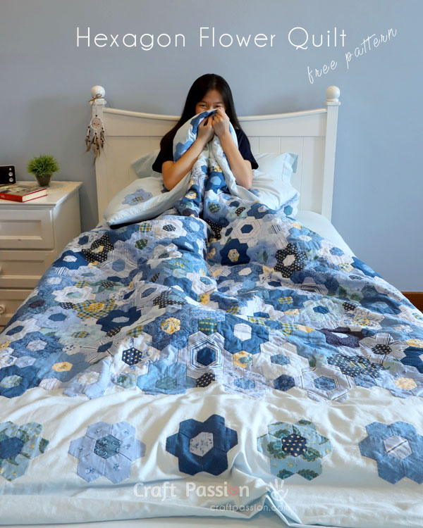 modern hexagon flower duvet