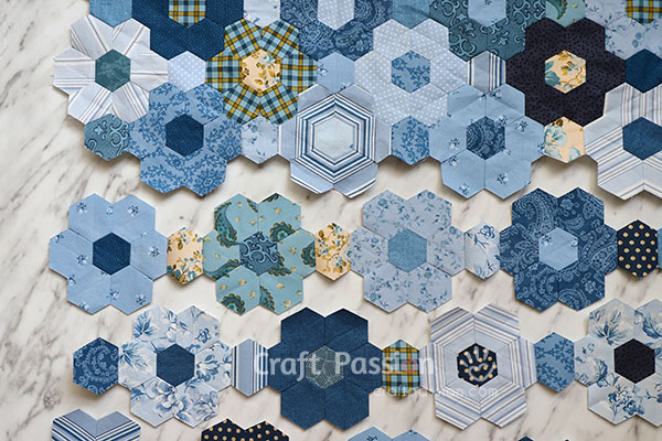 hexagon piecing with freezer paper