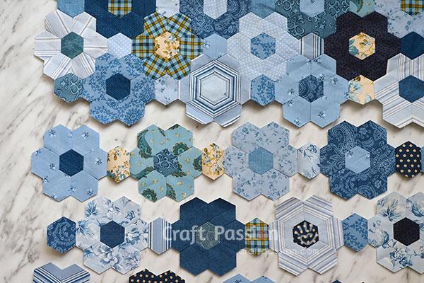 hexagon piecing with freezer paper