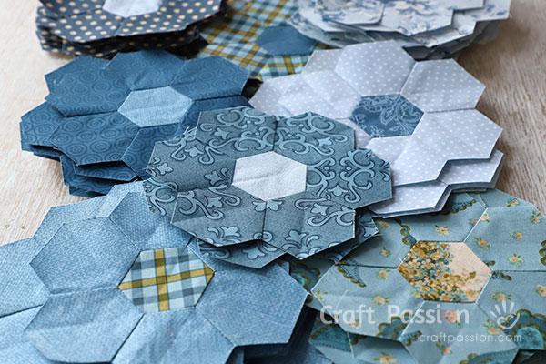 Quick Machine Sew Hexagon Flower Quilt Block