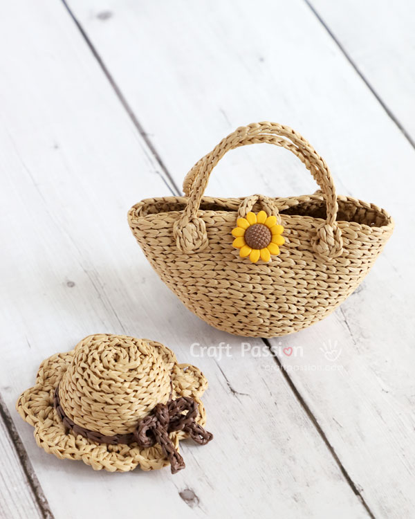 mini straw tote for doll crochet pattern