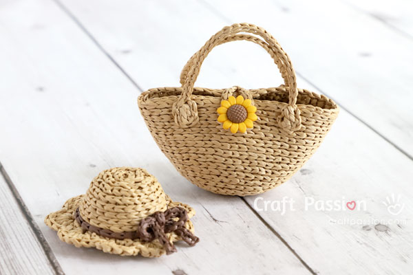 mini raffia straw tote for doll