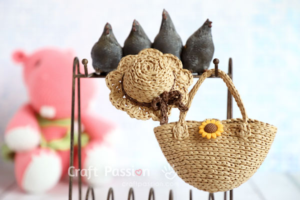 how to crochet straw hat bag for doll
