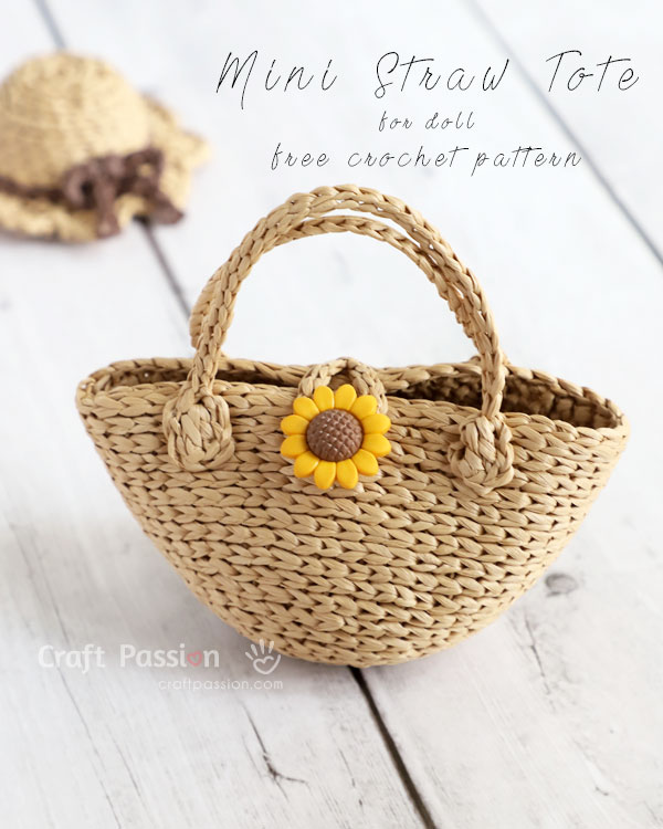 mini straw tote crochet pattern