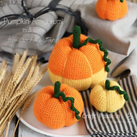 Pumpkin Amigurumi Crochet Pattern (3 Sizes)