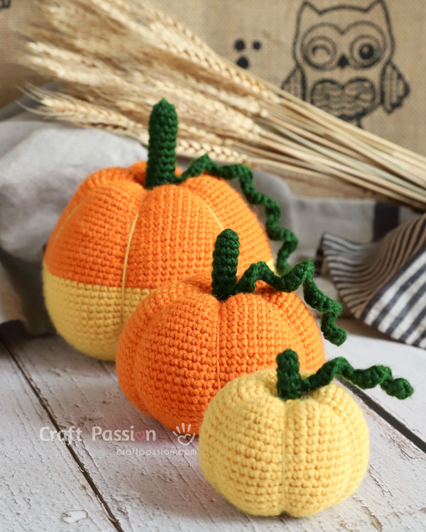 pumpkin amigurumi crochet pattern 3 sizes