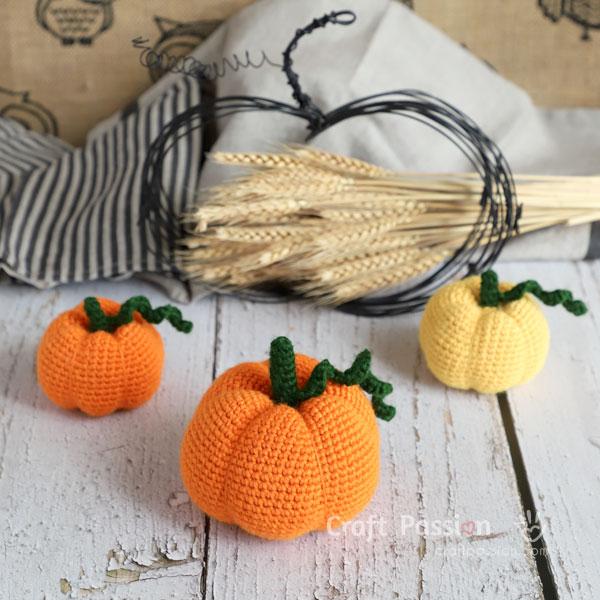 trio pumpkin amigurumi crochet pattern