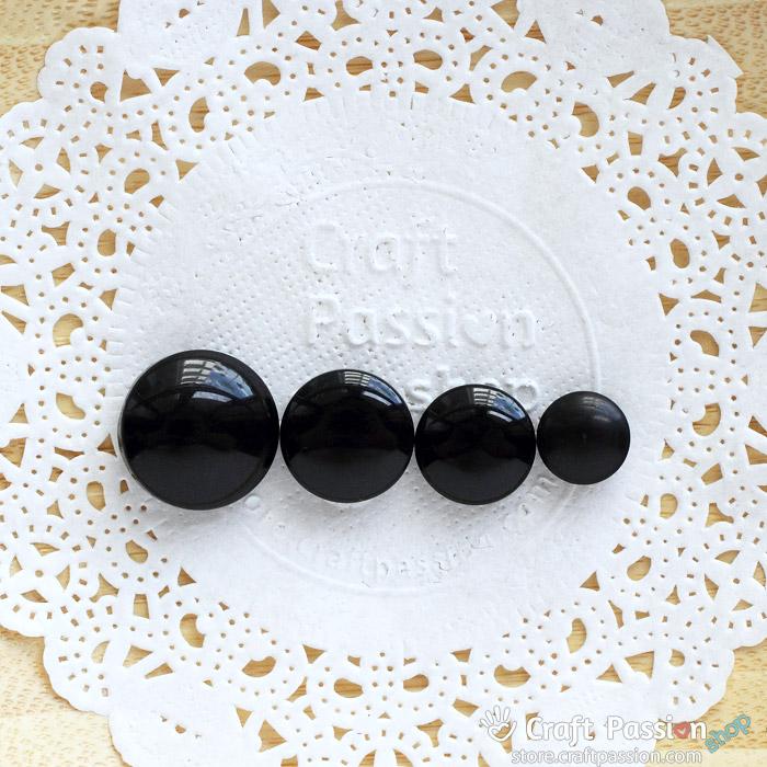 Black Animal Eyes, 1 pack - 9mm, 11.5mm, 13mm, 15mm