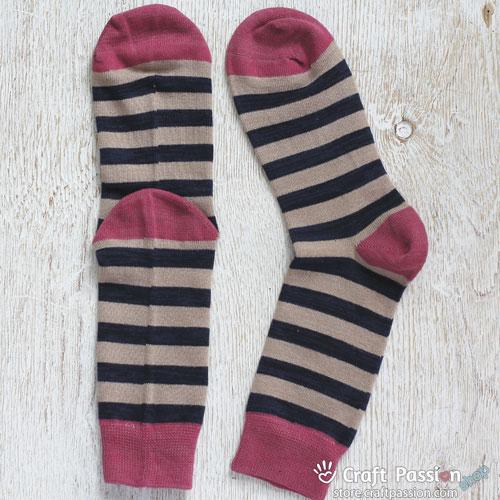Khaki Dark Blue Melon RedStripes Cotton Socks