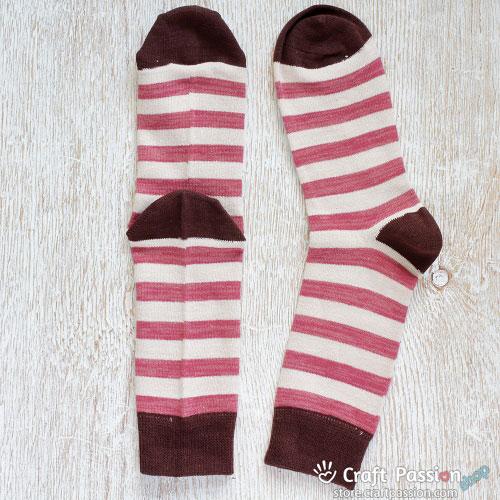 Burgundy Beige Brown StripeCotton Socks