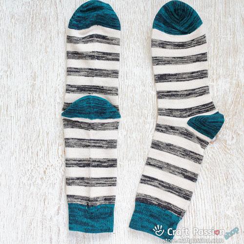 Grey White TealStripes Cotton Socks