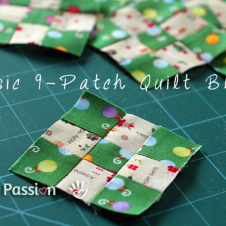 Basic 9-Patch Quilt Block Sewing Pattern {Quick Easy Method}