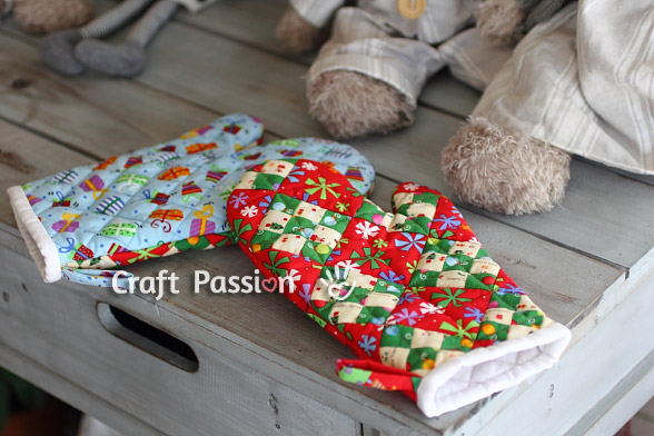 double 9 patch quilted mitts