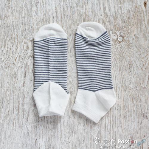 Stripes Ankle Socks - Denim White