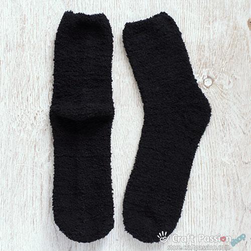Chenille Microfiber Socks - Black