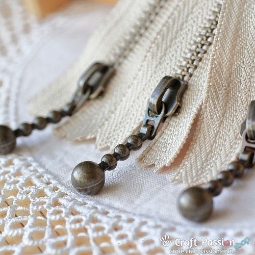 """Metal Zipper, 20cm (8""""), Ball Drop Zipper Pull, (very smooth slide)"""