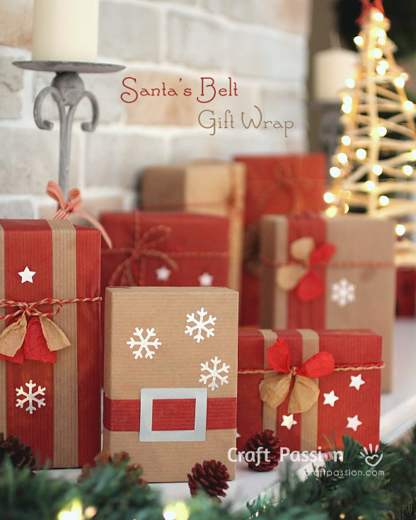gift wrapping santa belt