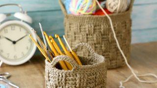 basket-weave crochet basket